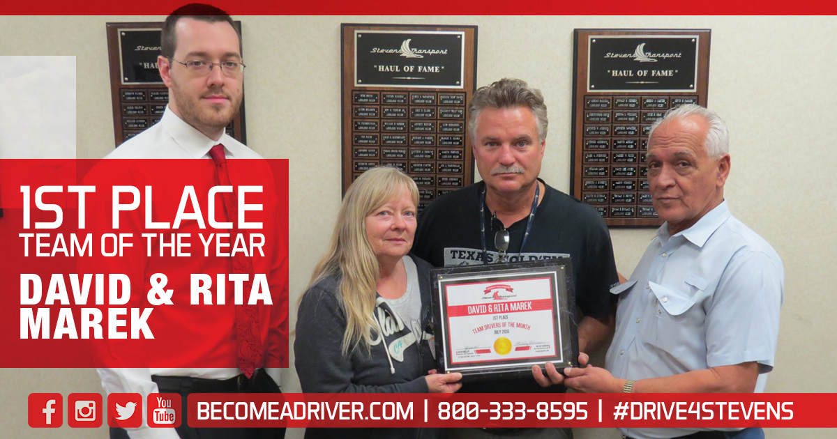 Pictured are David & Rita Marek, our Team of the year!